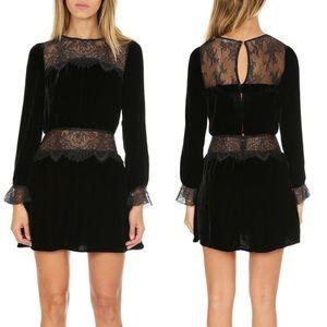 NWT For Love & Lemons Beatrix Velvet & Lace Dress